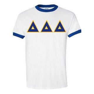 DISCOUNT-Delta Delta Delta Lettered Ringer Shirt