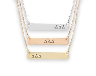 Delta Delta Delta Letters Bar Necklace