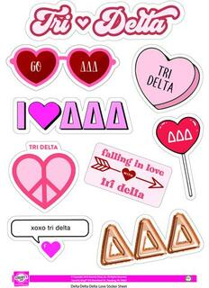 Delta Delta Delta Love Theme Stickers
