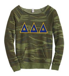 DISCOUNT-Delta Delta Delta Maniac Camo Fleece Sweatshirt