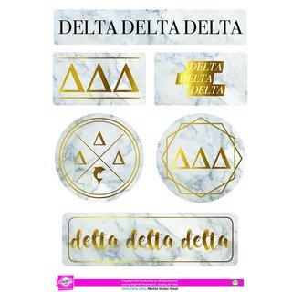 Delta Delta Delta Marble Sticker Sheet