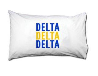 Delta Delta Delta Name Stack Pillow Cover