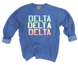 Delta Delta Delta Pastel Rainbow Crew - Comfort Colors