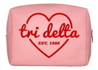 Delta Delta Delta Pink with Red Heart Makeup Bag