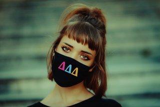 Delta Delta Delta Rainbow Face Mask