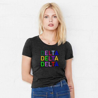 Delta Delta Delta Rainbow Triblend Short Sleeve Tee