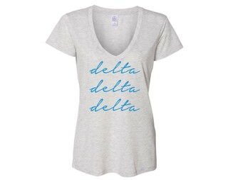 Delta Delta Delta Script Slinky Vneck