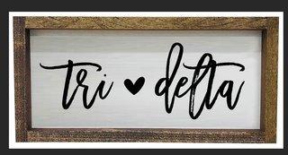 Delta Delta Delta Script Wooden Signs