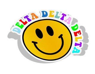 Delta Delta Delta Smiley Face Decal Sticker