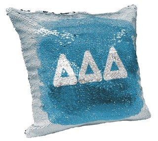 Delta Delta Delta Sorority Flip Sequin Throw Pillow Cover