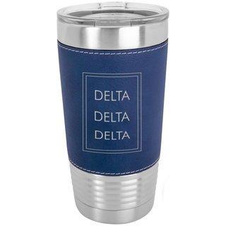 Delta Delta Delta Sorority Leatherette Polar Camel Tumbler