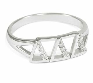 Delta Delta Delta Sterling Silver Ring set with Lab-Created Diamonds