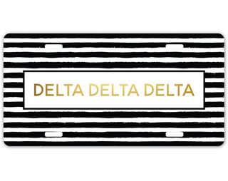 Delta Delta Delta Striped Gold License Plate