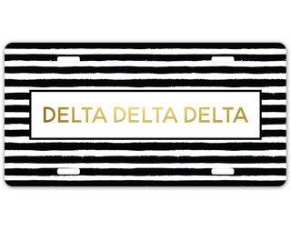 Delta Delta Delta Striped Gold License Plate