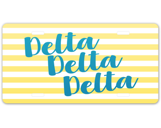 Delta Delta Delta Striped License Plate