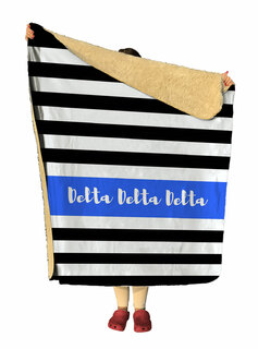 Delta Delta Delta Stripes Sherpa Lap Blanket