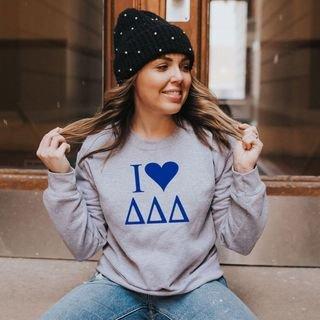 Delta Delta Delta I Love Crewneck Sweatshirt