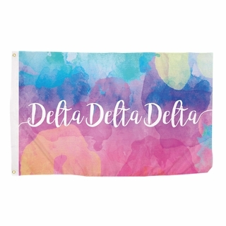 Delta Delta Delta Watercolor Flag