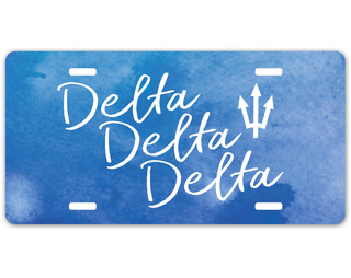 Delta Delta Delta Watercolor Script License Plate