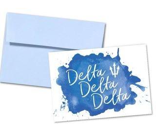 Delta Delta Delta Watercolor Script Notecards(6)