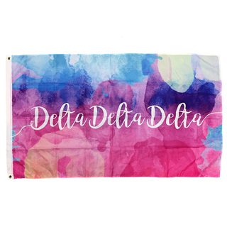 Delta Delta Delta Watercolor Sorority Flag
