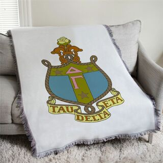 Delta Gamma Full Color Crest Afghan Blanket Throw