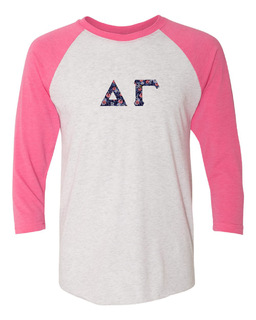 Delta Gamma Unisex Tri-Blend Three-Quarter Sleeve Baseball Raglan Tee
