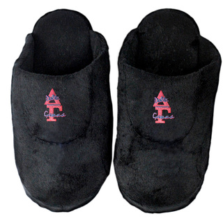 DISCOUNT-Delta Gamma Black Solid Letter Slipper