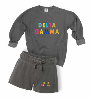 Delta Gamma Comfort Colors Crew and Short Set