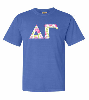 Delta Gamma Comfort Colors Lettered Greek Short Sleeve T-Shirt