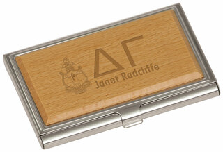 Delta Gamma Crest Wood Business Card Holder