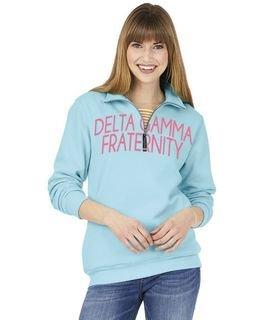 Delta Gamma Crosswind Over Zipper Quarter Zipper Sweatshirt