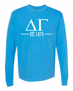 Delta Gamma Custom Greek Lettered Long Sleeve T-Shirt - Comfort Colors