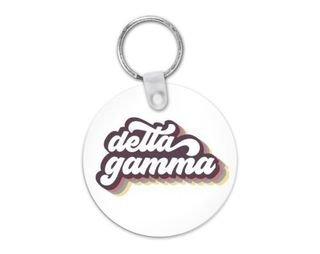 Delta Gamma Retro Script Keychain