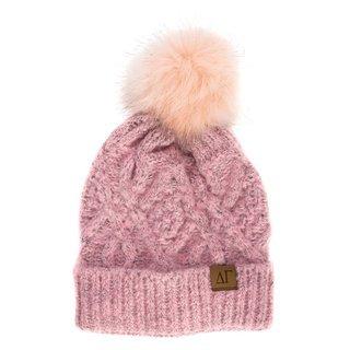 Delta Gamma Faux Fur Pom Beanie Hat
