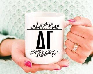 Delta Gamma Floral Letters Mug