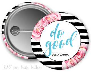 Delta Gamma Floral Motto Button