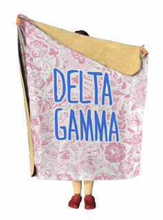 Delta Gamma Floral Sherpa Lap Blanket