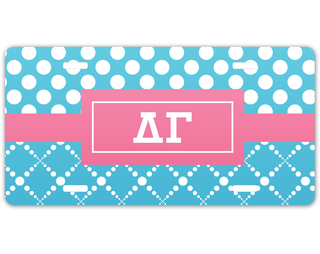 Delta Gamma Geometric License Plate