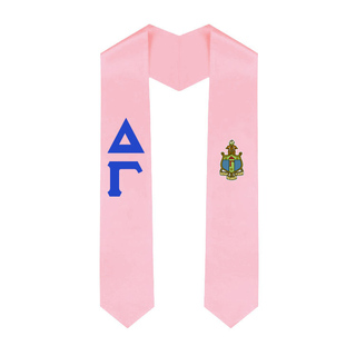 Delta Gamma Greek Lettered Graduation Sash Stole With Crest