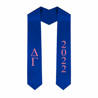 Delta Gamma Greek Lettered Graduation Sash Stole With Year - Best Value