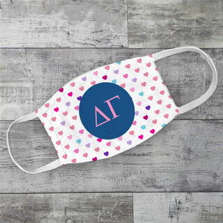 Delta Gamma Hearts Face Mask