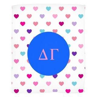 Delta Gamma Hearts Fleece Blanket
