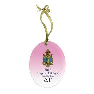 Delta Gamma Holiday Color Crest - Shield Glass Ornament