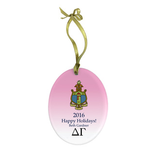 Delta Gamma Holiday Color Crest - Shield Glass Ornament