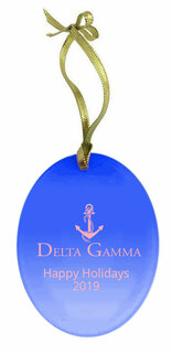 Delta Gamma Holiday Color Mascot Glass Christmas Ornament