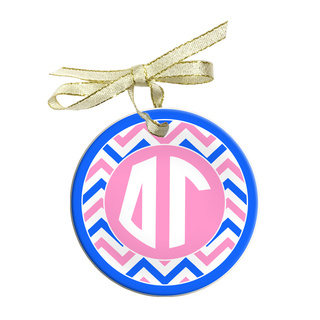 Delta Gamma Holiday Sorority Round Frosted Glass Ornament