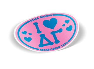 Delta Gamma I Love Sorority Sticker - Oval