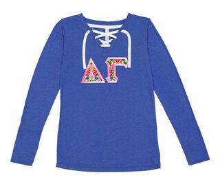 Delta Gamma LAT - Sorority Fine Jersey Lace-Up Long Sleeve T-Shirt