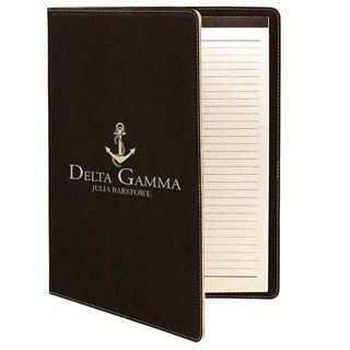 Delta Gamma Leatherette Mascot Portfolio with Notepad